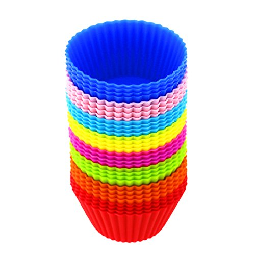 Silicona Cupcake Liners Moldes cupcakes reutilizable y antiadherente para magdalenas moldes Cupcake soportes (8 colores-32 piezas)