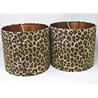 Leopard Animal Print with Brushed Copper Lining Drum Lampshade Lightshade