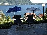 Sport-Freizeit-Outdoor-Relax-SET - Modell. Lago Maggiore - Faltstuhl mit Beinauflage + Fächerschirm Holly® NATUR + Holly ® 360 ° Universalgelenkhalterung GVC - 25 EUR - mit Gummischutzkappen - INNOVATIONEN MADE in GERMANY - Holly® Produkte STABIELO - holly-sunshade ®
