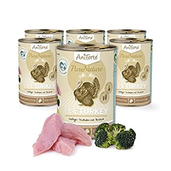 AniForte Poudre de® purena Ture 6x 400g Menu pour chat sans graines Fine Turkey Doublure de Nourriture humide Produit naturel pour chat (dinde et brocoli, 6x 400g)
