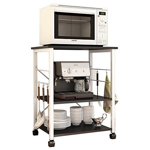 soges Support de Machine à café à micro-ondes 3 étages Poste de travail Armoire de rangement de Cuisine étagère Chariot pour servir la cuisine, crochets libre