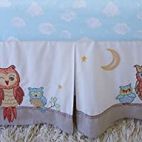 The Little Acorn Baby Owls Crib Bed Skirt by Little Acorn