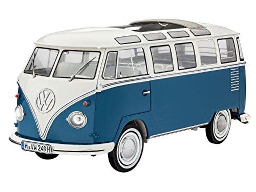 Revell Modellbausatz Auto 1:16 - Volkswagen VW T1 Bulli Samba Bus  im Maßstab 1:16, Level 5, originalgetreue Nachbildung mit vielen Details, VW Bus, 07009