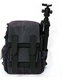 Caden impermeable lona bolsa de la cámara Gadget Fotografía Viajes Multifunción a prueba de golpes Anti-Theft portátil mochila mochila bolsa para Canon Nikon Sony SLR(Gris)