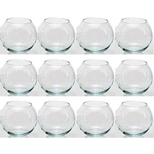 Annastore 12 x Glas in Kugelform H 8 cm - Vase - Windlicht - Dekoglas - Rundvase Kugelvase