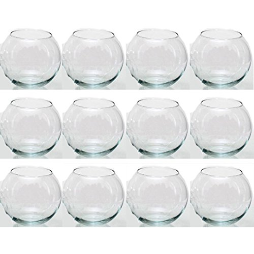 Annastore 12 x Glas in Kugelform H 8 cm - Kugelglas - Vase - Windlicht - Dekoglas - Rundvase Kugelvase
