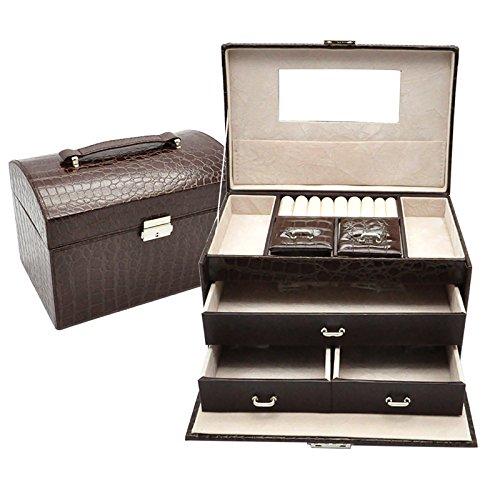 Kaffee Dekorative Aufbewahrungsbox (lzzfw Schmuckschatulle Weihnachtsgeschenkbox Holzschloss Mit Schloss Europäischen Stil Multifunktionale Ring Ohrringe Halskette Box Dekorative Box Aufbewahrungsbox 24 * 16 * 16,5 Cm, Kaffee)