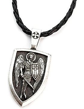 MISS–E–JEWELS TM Antiker Silberner Russisch- orhodoxer Erzengel St. Michael-Anhänger für Damen und Herren