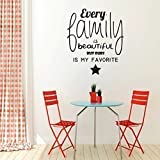 Every Family Is Beautiful - Englisches Vinyl Wandtattoo 55x80cm - Gold