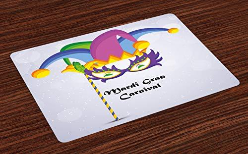 Platzmatten, Mardi Gras Karneval Inschrift mit traditionellen Party Icons Clown Kostüm Hut, Tiscjdeco aus Farbfesten Stoff für das Esszimmer und Küch, Mehrfarbig ()