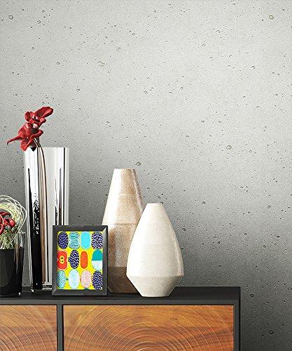 NEWROOM Steintapete Tapete Grau Putz Beton Uni Vliestapete Vlies moderne Design 3D Optik Tapete Struktur Bauhaus inkl. Tapezier Ratgeber