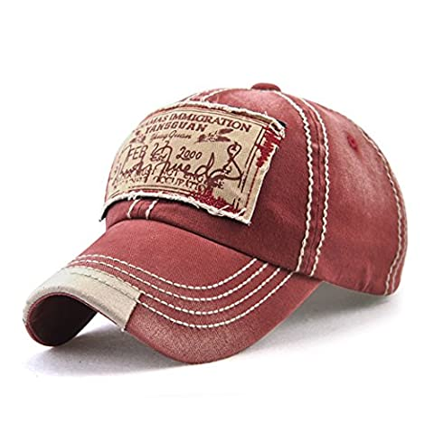 Roffatide Unisex Washed Cotton Patch Baseball Cap Distressed Retro Curved Bill Dad Hat Red