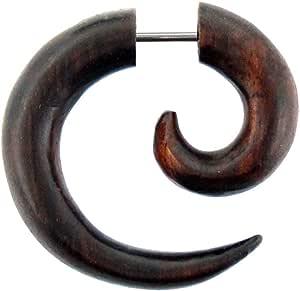 Chic-Net Piccolo orecchino a spirale in stile tribale realizzato in legno Sono marrone, finto piercing | Orecchini unisex