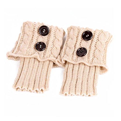 Pixnor Damen stricken Stulpen Socken Gestrickte kurzer Punkt Legwarmer Boot-Abdeckung Socken Beige (Socken Beige Stricken)
