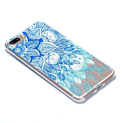 iphone 7 Plus Hülle,iphone 7 Plus Case,iphone 7 Plus Silikon Hülle [Kratzfeste, Scratch-Resistant], Cozy Hut iphone 7 Plus Hülle TPU Case Schutzhülle Silikon Crystal Kirstall Clear Case Durchsichtig,  blaue Blätter