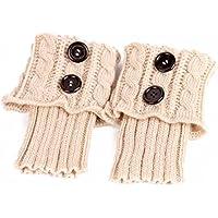 PIXNOR Pata arranque de los puños tejer calcetines calentadores bota cubierta mantenga caliente calcetines (Beige)