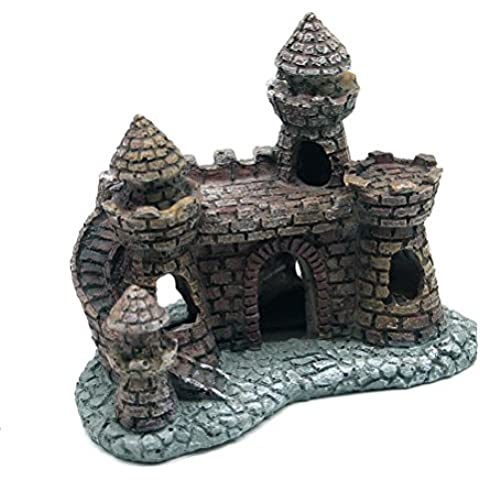 Five Season Simulations Ancient Small Castle Tower Ornaments for Aquarium Fish Tank Grey by Five Season