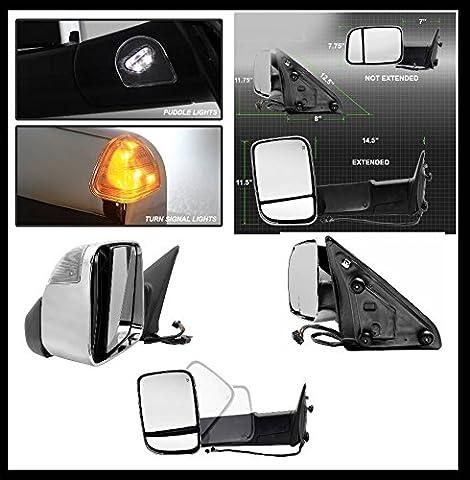 Pendentif Rétroviseur Chromé Dodge Ram 1500Bj. 09–12, 2500, 3500Bj: 10–12Paires (beheizt, réglable électriquement, repliable, avec clignotant Lampe)