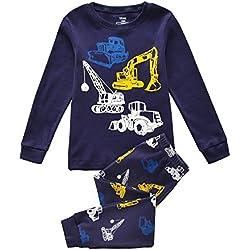 Tkiames Enfants Garçons Ensembles de pyjama Mignonne Tracteur, 2-8 Ans (7 ans, marine)