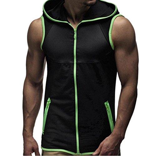 Amlaiworld Männer Ärmelloses Weste-Kapuzen-T-Shirt Top, cooles und buntes T-Shirt Kapuzen-Zipper-Kleidung (XXL, Grün)