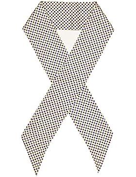 Bees Knees Fashion - Bufanda - Blanco Púrpura Manchada Impresa Doble Capa De Seda Bufanda Larga