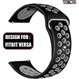 Taslar Soft Replacement Breathable Sport Bands with Air Holes for Fitbit Versa Smart Fitness Watch Tracker (Black Grey)