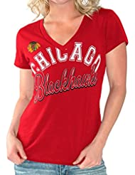 "Chicago Blackhawks Women's G-III NHL ""Homefield"" V-neck Slub T-Shirt Chemise"