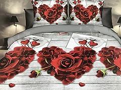 Idea Regalo - GoldenHome Set Lenzuola Matrimoniale 4 Pezzi in Microfibra - Stampa 3D - Modello Rose Rosse