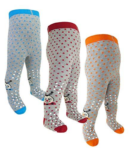 EveryHead Riese 3er Pack Babystrumpfhose unisex Sparpack ABS Strumpfhose Markenstrumpfhose rutschfest Babys (RS-26027-W18-BU4-D1-D2-D3-9/12) in Hellblau-Rot-Orange, Größe 9/12 inkl Hutfibel