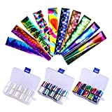 coulorbuttons 1 Box 2,5 * 100 cm Holografische Nagel Folie transparent AB Farbe Nail Art Transfer Aufkleber Set #1