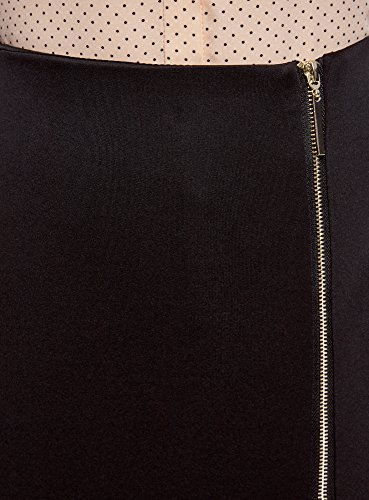 oodji Ultra Damen Jersey-Bleistiftrock mit Reißverschluss Schwarz (2900N)