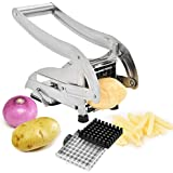 Potato Chipper,French Fry Cutter Stainless Steel with Suction Base and 2 Interchangeable Blades