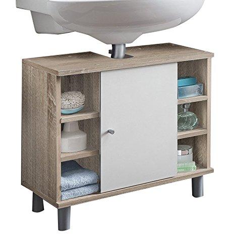 WILMES Badmöbel, Waschbecken, Badezimmerunterschrank, Unterschrank, Sonoma  Eiche/Weiß Melamin Dekor, 32x60x54 cm