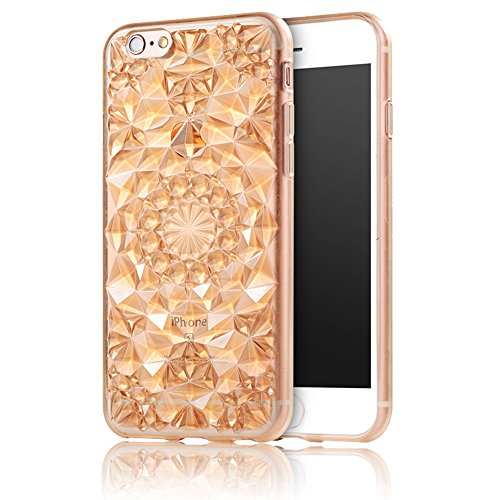 iPhone 6S(4.7 pollice) Cover, Bonice iPhone 6 Custodia, Lusso 3D Diamante Crystal TPU Ultra Clear Slim Bling Strass Case – Bianca Oro