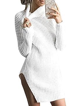 Camisetas De Manga Larga Suéter Lado Dividida Jersey Para Mujer Cuello-alto