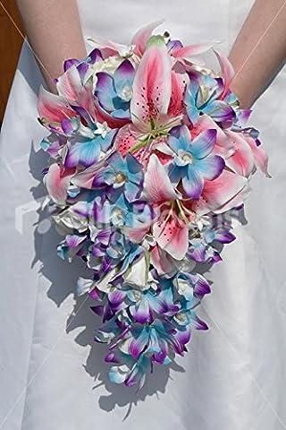 Galaxy Bleu Orchidée et lys Stargazer Tropical Bouquet Mariage