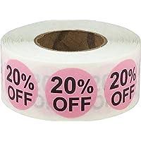 Rosado 20% de Descuento Circulo Punto Pegatinas, 19 mm 3/4 Pulgada Redondo, 500 Etiquetas en un Rollo
