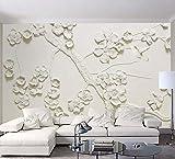 Ytdzsw 8D Grande Murale Bianco Fiore Di Prugna Fiore Carta Da Parati Murale 3D Foto Murale Per Divano Sfondo 3D Parete Fiore Murales Carta Da Parati 3D-350X245Cm