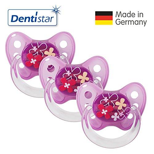 Preisvergleich Produktbild Dentistar® Latex Schnuller 3er Set - Nuckel Größe 2, 6-14 Monate - Naturkautschuk Beruhigungssauger für Babys - Blumen, lila