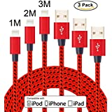 Flashstye 3 Pack 1M 2M 3M Phone Charger Nylon Braided Lightning to USB Cable Apple lightning cable for iPhone 7 Plus 6S Plus 6 Plus SE 5S 5C 5, iPad 2 3 4 Mini, iPad Pro Air, iPod.(Red Black)