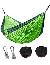 Hicool Hammock Hamaca de Acampada de Nylon Paracaída para Dos Personas 300cm*180cm Super Ligero Soporta por máxima 300kg incluye Cinta (verde de fruta+verde oscuro)
