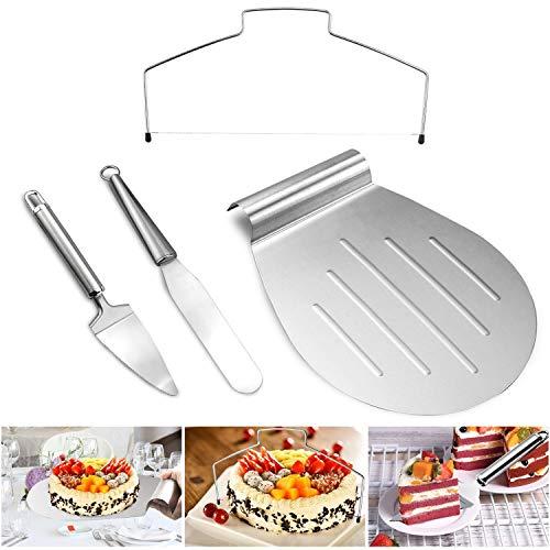 TedGem Set de espatulas para reposteria, con paleta y cortador para tartas, y paleta triangular de acero inoxidable - Lira para tartas, Espátula para tarta Set de 4 en 1
