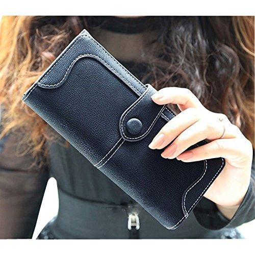 Minetom Donne Elegante Leather Portafoglio Lungo TitolareDellaCartaPochettePortafoglio Borsetta Sacchetto Del Partito ( Pink ) Nero