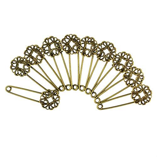 10pcs Leere Filigrane Blume Sicherheitsnadeln,Broschennadeln aus Kupfer Bronze