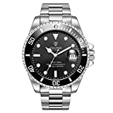 HerrenUhren, TEVISE T801 mechanische Uhren Männer, leuchtende ArmbandUhren für Männer, Wasserdichte Luxus-Kleider Wache Automatik mit Stahlband - Silver Band