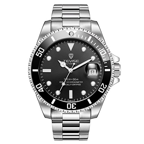 Mens Relojes, TEVISE T801 mecánicos Relojes Hombres, Relojes Luminosos de Pulsera para Hombres a la Venta, Reloj de Lujo Impermeable Vestido automático con Banda de Acero - Banda de Plata