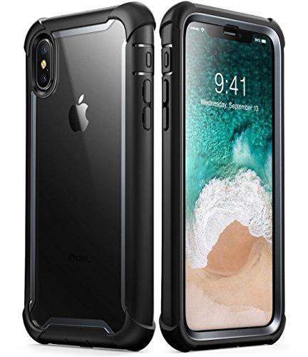 i-Blason iPhone X Hülle iPhone XS Hülle [Ares] Handyhülle Ganzkörper Schutzhülle Rugged Case Transparent Back Cover mit eingebautem Displayschutz für iPhone X/iPhone XS (5.8 Zoll), Schwarz