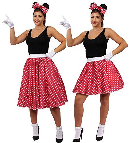 Kostüm Mickey Mouse Charakter - ILOVEFANCYDRESS VERKLEIDUNG FÜR EINE BERÜHMTE Maus AUS Film UND FERNSEHN Frauen = PERFEKT FÜR Fasching UND Karneval = Film UND FERNSEH Zeichentrick Art == BUCHWOCHE ODER AUFFÜHRUNGEN -KURZ/OS