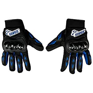 Autofy SSPEC Universal Full Fingers Leather Riding Gloves/Hand Gloves (Black, Blue/M)