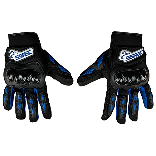 Autofy SSPEC Universal Full Fingers Leather Riding Gloves/Hand Gloves (Black, Blue/M)